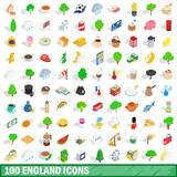 100 england icons set, isometric 3d style Royalty Free Stock Images