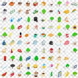 100 england icons set, isometric 3d style Stock Photos