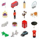 England icons set, isometric 3d style Stock Photos