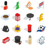 England icons set, isometric 3d style Stock Photos