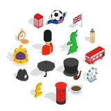 England icons set, isometric 3d style. England icons set in isometric 3d style. London set collection isolated vector illustration Royalty Free Stock Images
