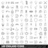 100 England icons set, outline style. 100 England set in outline style for any design vector illustration Royalty Free Illustration