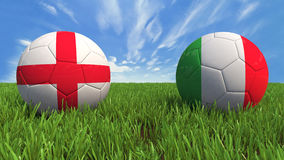 England-Italy. 3D soccer balls with england and italy flag, world football cup 2014. Palaced on 3d grass. Background isolated with clipping path Stock Image