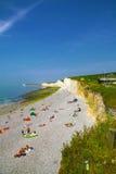 England 14 JULI, 2013: Sju vita klippasydost England för systrar Arkivbild