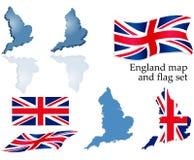 England-Karte und Markierungsfahnenset Stockbilder