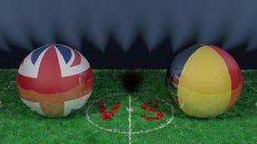 England kontra Belgien FIFA världscup 2018 Bild för original 3D royaltyfri illustrationer