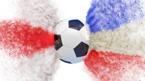 England kontra Frankrike fotbollsmatch Partiklar i England och Frankrike medborgarefärger som slår en Socccer boll Royaltyfri Foto