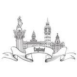 England label. Famous english architectural landmarks symbol. Vi Royalty Free Stock Image