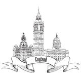 England label. Famous english architectural landmarks. Visit UKs Royalty Free Stock Images