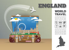 England Landmark Global Travel And Journey Infographic luggage.3. D Design Vector Template.vector/illustration. can be used for your business, advertisement or Royalty Free Stock Images