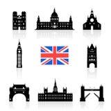 England Landmarks Icon Set. Stock Photos