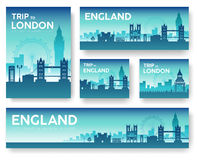 England landscape vector banners set. Vector design illustration Royalty Free Stock Photos