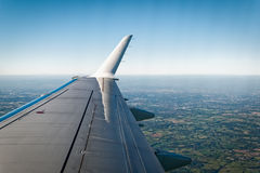 England Landscape View from Airplane. Inflight view of a rural landscape in England, seen from an aeroplane cabin window. Greater Manchester, England, UK royalty free stock image