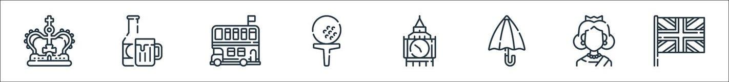 england line icons. linear set. quality vector line set such as united kingdom, queen, umbrella, big ben, golf, double decker bus