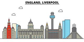 England, Liverpool. City skyline architecture . Editable. England, Liverpool. City skyline architecture, buildings, streets, silhouette, landscape, panorama Royalty Free Stock Photos