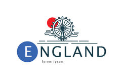 England logo. scene of the London Eye. Royalty Free Stock Photography