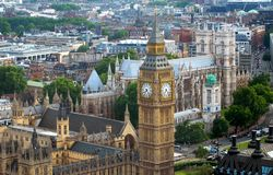 England- London- Aerial View of Big Ben and Parliament. A beautiful London aerial cityscape including the Big Ben clock tower and Parliament buildings. Please royalty free stock image