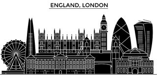 England, London architecture vector city skyline, travel cityscape with landmarks, buildings, isolated sights on. England, London architecture vector city Royalty Free Stock Photography