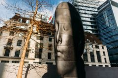 30 St Mary Axe aka The Gherkin, Sculpture titled `Laura` Royalty Free Stock Images