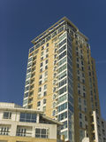 England london docklands canary wharf complex. Flats homes Stock Images