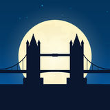 England, London silhouette of attraction. Travel banner with moon on the night background. Trip to country. Travelling illustratio Royalty Free Stock Photos