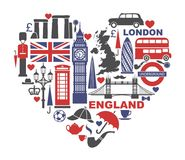 England, London, UK. Collection of flat icons in the form of a heart stock illustration