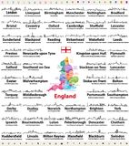 England major cities abstract skylines outline icons. Map of England with all major cities and administrative divisions borders royalty free illustration