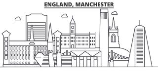 England, Manchester architecture line skyline illustration. Linear vector cityscape with famous landmarks, city sights Stock Image