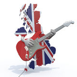 England map with arms that play electric guitar Stock Photo