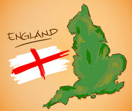 England Map and National Flag Vector Stock Photography