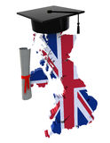 England maps with Graduation Cap and Diploma Stock Photo