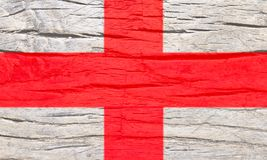 England national flag on old wood texture background. Stock Photography