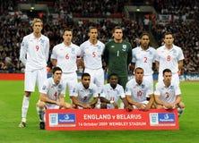 England National football team. At the England - Belarus 2010 FIFA World Cup Qualifiers match. Ben FOSTER, Glen JOHNSON, Wayne BRIDGE, Gareth BARRY, Rio Royalty Free Stock Image