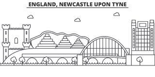 England, Newcastle Upon Tyne architecture line skyline illustration. Linear vector cityscape with famous landmarks, city Royalty Free Stock Images