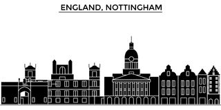 England, Nottingham architecture vector city skyline, travel cityscape with landmarks, buildings, isolated sights on royalty free illustration