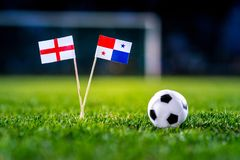 England - Panama, Group G, Sunday, 24. June, Football, World Cup. Russia 2018, National Flags on green grass, white football ball on ground royalty free stock photography