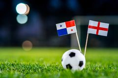 England - Panama, Group G, Sunday, 24. June, Football, World Cup, Russia 2018, National Flags on green grass, white football ball. On ground stock photos