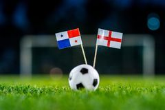 England - Panama, Group G, Sunday, 24. June, Football, World Cup, Russia 2018, National Flags on green grass, white football ball royalty free stock photos