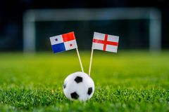 England - Panama, Group G, Sunday, 24. June, Football, World Cup, Russia 2018, National Flags on green grass, white football ball stock photos
