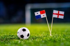 England - Panama, Group G, Sunday, 24. June, Football, World Cup, Russia 2018, National Flags on green grass, white football ball. On ground stock photo