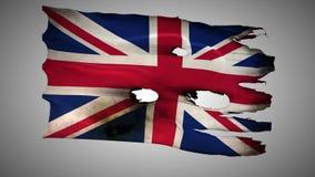 England perforated, burned, grunge waving flag loop alpha. England, British, Great Britain, United Kingdom, GB bullet perforated, burned, grunge standard flag stock footage