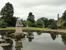 England pond. Stonyhurst college in England with reflection pond and statue Royalty Free Stock Image