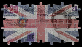 England and the queen. Render of pounds note and flag on the black background Royalty Free Stock Images