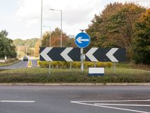England road roundabout signs directions no cars. Essex; England; UK Stock Photo