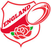 England Rugby Ball English Rose Stock Photos