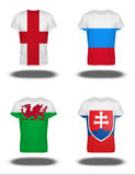 England, Russia, Wales, Slovakia flags on t-shirt on white background Stock Photos