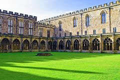 England`s green and pleasant land, inside Durham Cathedral`s cloisters. stock photos
