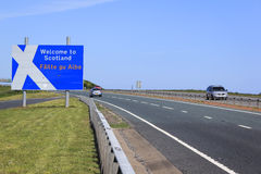 England scotland border crossing A1 road Royalty Free Stock Photo
