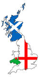England Scotland Wales outlines with flags overlaid Royalty Free Stock Image