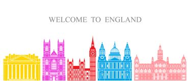 England set. Isolated England architecture on white background. EPS 10. Vector illustration Royalty Free Stock Photos